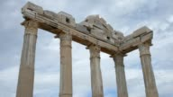The ruins of ancient buildings, the classic Greek columns, timelapse video
