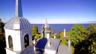 The russiona church in the cliff hill in Peipsi video