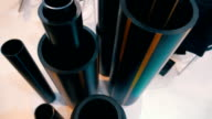 The samples of plastic pipes of different diameter video