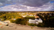 The seaside city of Parnu in aerial landscape video