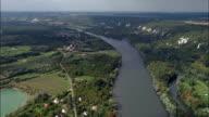 the Seine Near Moisson  - Aerial View - Île-de-France, Yvelines, Arrondissement de Mantes-la-Jolie, France video