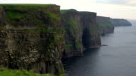 The side view of the Moher Cliffs and the sea Ireland video