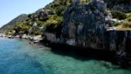 The sink city Kekova and yacht with tourists, Antalya, Turkey video