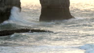 The slow motion shot of the big waves on Etretat video