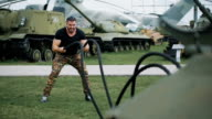 The soldier gave a gym training at a military base video