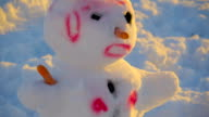 The spiky hair of the pink snowman video