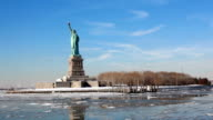 The Statue of Liberty as seen from the Ellis Island Ferry video