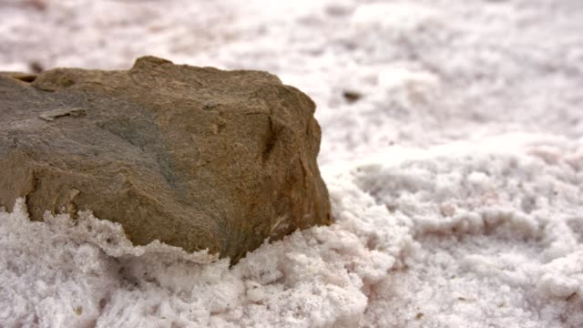 The stone is covered with salt. video
