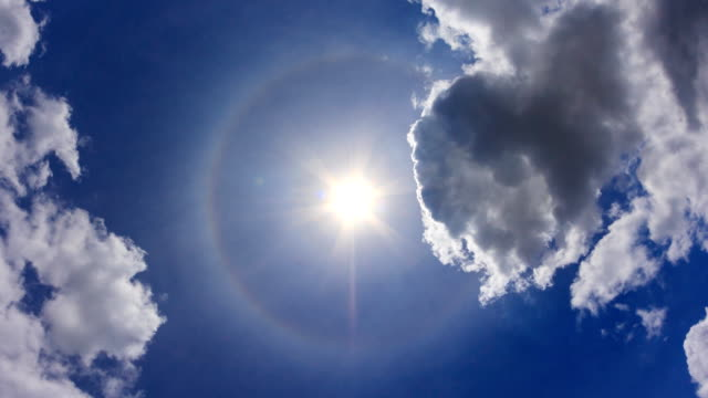 The Sun Halo On Beautiful Sky Background 4K Time Lapse (zoom in) video