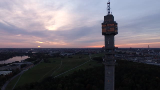 AERIAL: The Swedish TV-tower Kaknästornet at sunset video