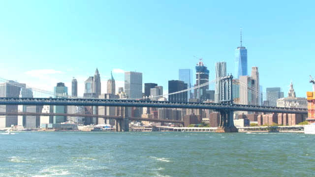 The two iconic bridges upon Downtown Manhattan skyline, view from the East River video