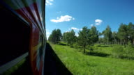 The view from the window of passenger train video