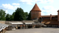 The view inside the Trakai medieval castle in Lithuania video