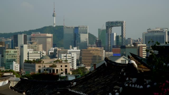 The view of Namsan Tower at Bukchon Hanok village in Seoul, South Korea. Hanok is a term to describe Korean traditional houses. video
