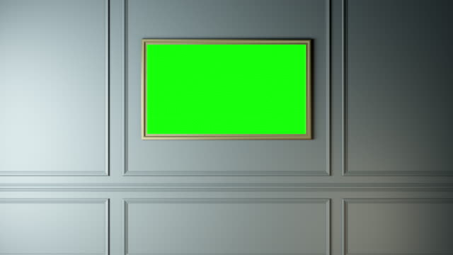 The wall with a picture of a TV, green screen alpha video