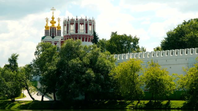 The walls and domes of the Novodevichy Convent church video