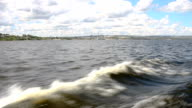 The waves, the landscape aboard a river ship video