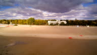 The wide and white sand on Parnu beach video