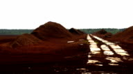 The wide area of the red peat soil video