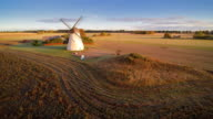 The wide crop field with windmill video