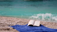 The wind tuns over pages of a book near sea video