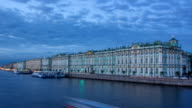 The winter Palace day to night timelapse and pier on the Palace embankment in summer in Saint-Petersburg video