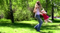The woman and child in park video
