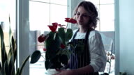 The woman with a flower in hands video