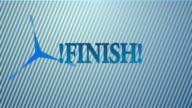 The word the finish on a blue background video