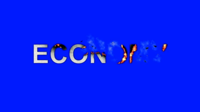 The Words Economy Burning in Flames to Ashes on a Blue Screen Background video