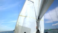 The yacht changes tack. The wind blew up the sail of yacht. video
