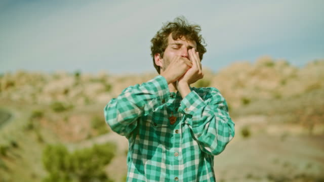 The young man playing mouth organ in the desert video