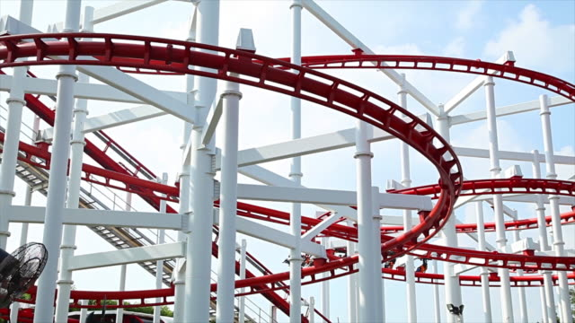 Theme park rollercoaster ride video