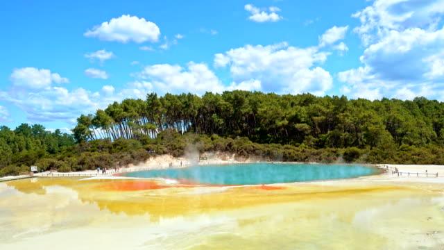 Thermal Lake, Champagne Pool at Wai-O-Tapu near Rotorua, New Zealand from Wide Angle video