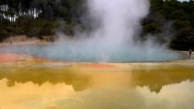 Thermal lake Champagne Pool at Wai-O-Tapu near Rotorua, New Zealand video