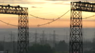 Thermal power station at sunrise 3 time lapse video