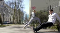 They doing morning exercises in city street video