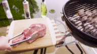Thick Cut Ribeye Beef Steak on a Charcoal Grill video