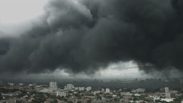 Thick dark grey pollution over the city of Durban. video