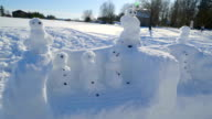 Thick white snow with snowman video