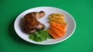 thigh chicken steak on green screen video