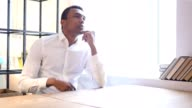Thinking Pensive Black Man in Office, Brainstorming video