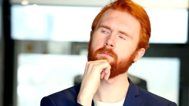 Thinking Pensive Businessman Portrait video