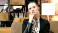 Thinking, Portrait of Business Woman in Office video
