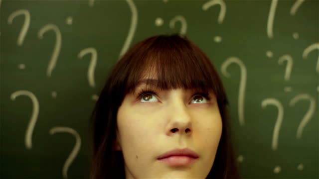 thinking woman in classroom video
