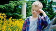 thoughtful boy, close up video