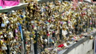 Thousands of love locks on the bridge video