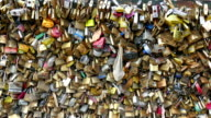 Thousands of padlocks on the love lock bridge video
