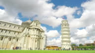 Thousands of people visiting beautiful Pisa Cathedral Square in Italy, landmark video