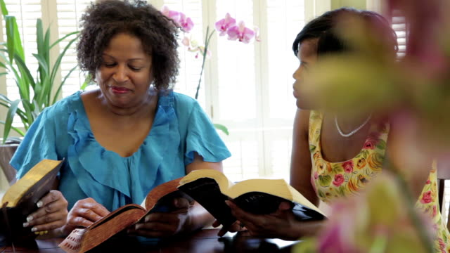 Three Christian ladies ready for Bible study video
